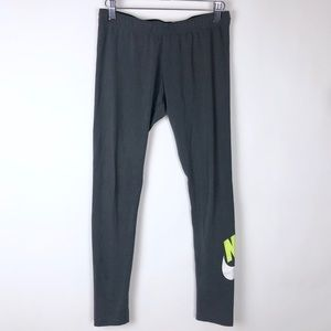 Nike Leggings Organic Cotton Charcoal Lime Active